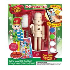 Have fun mastering the skill of painting with this Works of Ahhh Nutcracker Elf Wood Painting Kit. After you decorate and paint your nutcracker elf with a variety of different color paints, enjoy playing with your new toy designed by you. Adult Crafts, Crafts For Kids, Arts And Crafts, Biscuit, Paint App, Water Based Acrylic Paint, Paint Tubes, Project Yourself, Diy Crafts Home