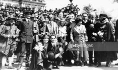 Chaplin, Douglas Fairbanks & Mary Pickford at a war bond event