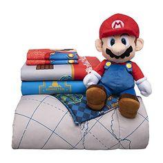 Nintendo Super Mario Odyssey Soft Microfiber Comforter, Sheets and Plush Cuddle Pillow Kids Bedding Set, Full Size 6 Piece Bundle Pack