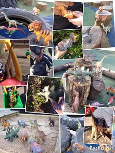 Outdoor Play with Large Dinosaurs (from Stimulating Learning with Rachel) Dinosaur Activities, Outdoor Activities, Outdoor Learning, Outdoor Play, Dinosaurs Eyfs, Largest Dinosaur, Animal Experiences, Diy Playground, Small World Play