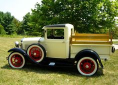 1931 Ford Model A Yellow and Black Pick-up Truck. Old Ford Pickups, Old Ford Trucks, Old Pickup Trucks, Antique Trucks, Vintage Trucks, Antique Cars, Retro Vintage, Cool Trucks, Cool Cars
