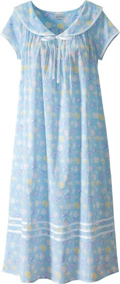 Lanz seashell nightgown features a sailor collar with grosgrain ribbon and capped sleeves. Slip into this nautical cotton lawn gown for exceptional comfort. Stylish Dresses, Fashion Dresses, Night Gown Dress, Cotton Nighties, Night Dress For Women, Nightgowns For Women, Night Outfits, Outfit Night, Lingerie Outfits