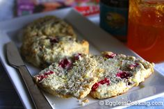 have a big bag of cranberries to use. may try dried cherries at some point. Eggless Scone Recipe, Eggless Baking, Vegan Baking, Vegan Sweets, Vegan Desserts, Vegan Food, Vegan Recipes, Baking Without Eggs, Vegan Teas