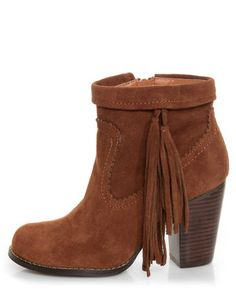Sbicca Wynonna Tan Tasseled Fringe Ankle Boots
