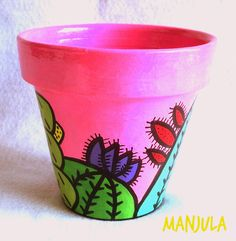 Flower Pot Art, Flower Pot Design, Flower Pot Crafts, Cactus Flower, Clay Pot Projects, Clay Pot Crafts, Painted Clay Pots, Painted Flower Pots, Pots D'argile
