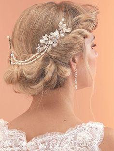 AR517, Bridal Hair Drape with Flower Combs by Arianna Tiaras