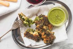 Silverbeet and prawn fritters with chimichurri