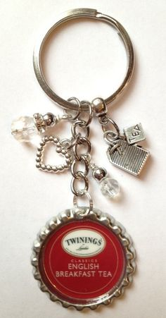 Twinings bottle cap key chain inspired by the by Bottlecapbling101, $14.00