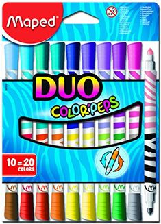 Maped Duo Color Peps Washable Felt Tip Markers Set Assorted Colors 847010 Felt Tip Markers, Stationary School, Stabilo Boss, Cute School Supplies, Book Design Layout, Bullet Journal Ideas Pages, Gel Pens, Art Supplies, Stationery