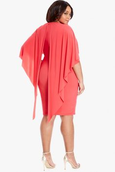 Aldo Cape Dress    $46.90 |The season's so-now cape makes a grand and glamorous appearance on the Aldo plus size dress--a trendsetting must for cocktail parties, bridal showers and beyond. Round neck, cape overlay, fitted skirt.
