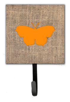 Butterfly Burlap Leash Holder and Wall Hook