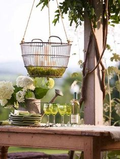 Turn a basic flower basket into a hanging chandelier with Candle Impressions Outdoor #Flameless #Candles