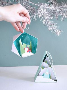 Through the Woods Ornaments – 2 pack   Smallful - #origami #Ornaments #pack #Smallful #Woods