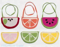 Free pattern: Fruit Slice Purses and Pouches