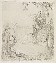 Reclining Woman and Child with Incense Burner Cecile Walton, Etching 1908