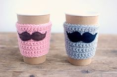 His and Hers mustache coffee cup cozies in pink and gray by The Cozy Project.