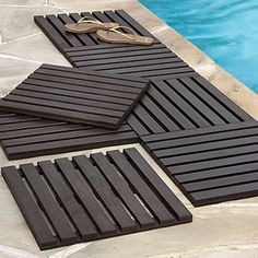 instant wood deck tiles for concrete patios . great for outdoor shower Outside Flooring, Outdoor Flooring, Outdoor Spaces, Outdoor Living, Outdoor Decor, Wood Deck Tiles, Jacuzzi Outdoor, My Pool, Patio Makeover