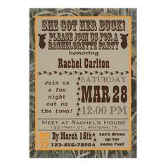 Camo Bachelorette Party Invitation Orange