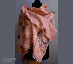 """Felted scarf. Nuno felted shawl. Nuno felted wrap. Felt. Art fiber. """"Peach mood"""""""