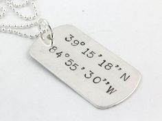 Personalized Coordinates Dog Tag Necklace by TheSilverDiva