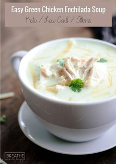 Easy and delicious, this low carb green chicken enchilada soup is also keto friendly! (Chicken Stew Low Carb)