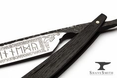 7/8 Wedge Grind, Ancient Bog Wood, Forged Finish, Ancient Engravings – Custom Straight Razor