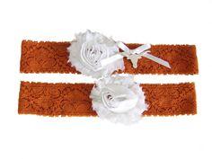University of Texas Longhorns Stretch Lace Wedding Garter Set Burnt Orange and White on Etsy, $27.95