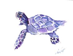 Sea Turtle Painting, original watercolor 12 X 9 in sea turtle wall art, sea world animals, beach, house ocean