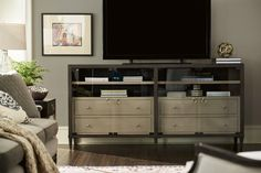 "Espinoza TV Stand for TVs up to 88"" Living Room Furniture, Home Furniture, Living Rooms, Tempered Glass Door, Flat Panel Tv, Media Cabinet, Wood Drawers, Smart Design, Tv Cabinets"