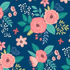 Vintage Antique Floral Flowers on Navy Blue by Caja Wong-Chung / caja_design on Spoonflower - available as custom fabric, wallpaper, or wrapping paper.