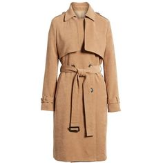 Women's Evidnt Double-Breasted Trench Coat ($128) ❤ liked on Polyvore featuring outerwear, coats, double-breasted trench coat, beige coat, double breasted coat, beige trench coat and trench coat
