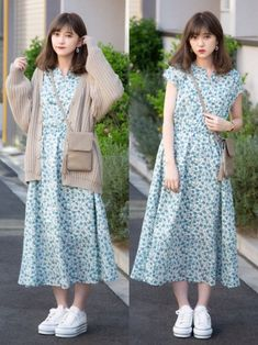 Korean Girl Fashion, Korean Fashion Trends, Ulzzang Fashion, Muslim Fashion, Modest Fashion, Long Skirt Fashion, Korean Casual Outfits, Cute Casual Outfits, Casual Dresses
