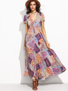00ca0c7944df Multicolor Vintage Print V-Neck Drawstring Button Front Dress