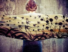 Swallows  Scarf, Hand painted swallows and florals, stunning unique and useful, perfect gift