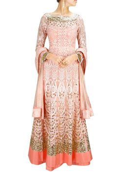 JADE BY MONICA AND KARISHMA Shell pink tone-on-tone embroidered anarkali with matching dupatta Product Code - JADC2T08148637 Price - S$ 1,450
