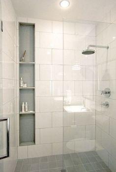 Bad Inspiration, Bathroom Inspiration, Garden Inspiration, White Tile Shower, Bathroom Renos, Remodel Bathroom, Dyi Bathroom, Bathroom Cabinets, Simple Bathroom