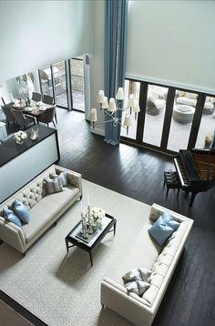 Linda McDougald Design - living rooms - Benjamin Moore - Intense White - open plan living room