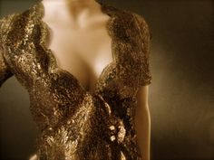 #Vintage #Valentino Bronze Gold Metallic Lace #Blouse.