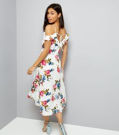 White Floral Print Cold Shoulder Midi Dress | New Look