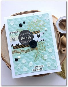 Thanks card by Daniela Dobson     Supplies:      Amy Tangerine Oh  Happy Life Rotary Stamp by American Crafts   Take Me Away  Pape...