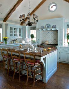 Robin's Egg Blue Hued Kitchen Cabinets