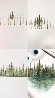 Mini tutorial of some pine trees with step by step process photos watercolor Tree painting tutorial Watercolor Trees, Watercolour Painting, Painting & Drawing, Artist Painting, Painting Tips, Watercolor Landscape, Simple Watercolor, Tattoo Watercolor, Watercolor Animals