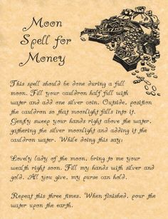 Spell for Money, Book of Shadows Spell, Witchcraft, Wicca, Moon Spells Witch Spell Book, Witchcraft Spell Books, Magick Spells, Luck Spells, Wiccan Books, Summoning Spells, Healing Spells, Wicca Witchcraft, Candle Spells