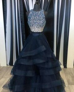 Newest Prom Dress,O-Neck Prom Dress,Beading Prom Dress,Two Pieces Prom Dress,Evening Dress