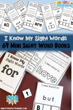 Sight Word Practice For Kindergarten and First Grade Mini Books Set 69 Different Sight Word Mini Books Sight words… I'm not sure what to say about them other than I think they were … Sight Word Booklets, Sight Word Readers, Sight Words Printables, Sight Word Worksheets, Cvc Worksheets, Free Printables, Preschool Sight Words, Sight Word Activities, Preschool Lessons