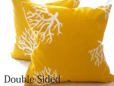 Yellow pillow cover coral nautical theme All sizes por MicaBlue, $26.00