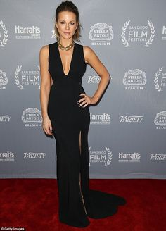 Show-stopper! Kate Beckinsale, 43, wowed in a plunging neckline as she showed off her toned legs in a thigh-high split dress in San Diego on Thursday