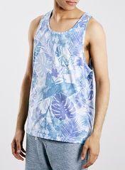 White Hibiscus Print Slim Fit Vest