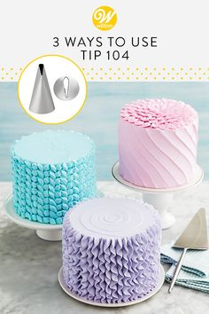 3 Ways to Use Tip 104 Make lovely pastel cakes for your spring or summer celebration using petal tip Great for piping large blooming flowers, pet Cake Icing Tips, Cake Decorating Frosting, Frosting Tips, Buttercream Cake, Cookie Decorating, Cookie Frosting, Cake Piping Techniques, Cake Decorating Techniques, Cake Decorating Tutorials