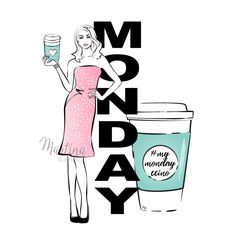 Monday coffee girl fashion illustration